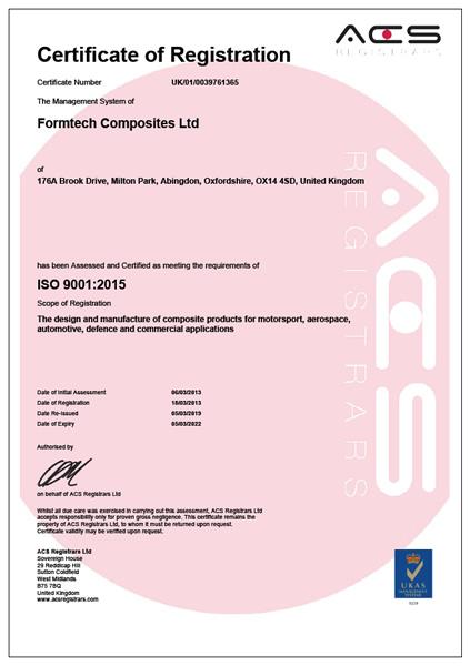 Formtech Composites Ltd ISO 9001 2019
